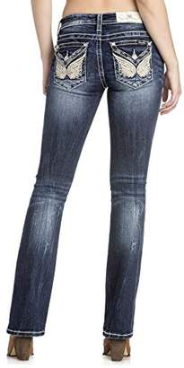 Miss Me Junior's Mid-Rise Butterfly Boot Cut Jeans