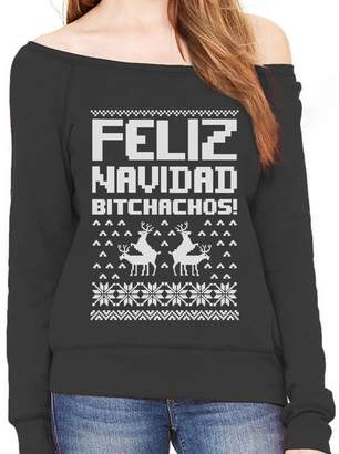 TeeStars Feliz Navidad Bichachos Ugly Christmas Sweater Funny Off shoulder sweatshirt