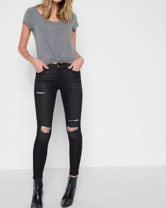 7 For All Mankind B(air) Denim Ankle Skinny with Destroy in Noir