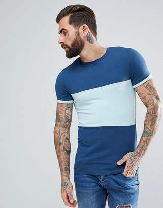 Asos DESIGN Muscle Fit T-Shirt With Color Block