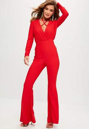 Missguided Red Tailored Cross Front Romper