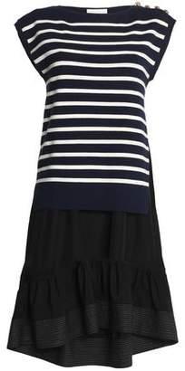 3.1 Phillip Lim Paneled Striped Silk And Cotton-Blend And Poplin Dress