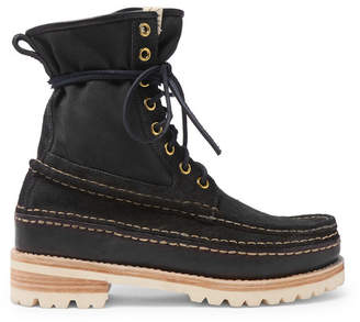 Visvim Grizzly Panelled Suede, Twill and Rubber Boots - Black