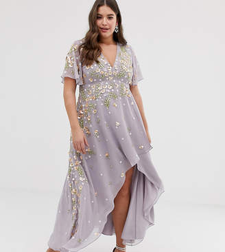 4779fea8a8d Asos DESIGN Curve dipped hem maxi dress with 3D embellishment and ruffle  sleeve