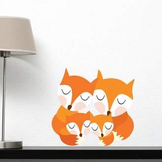 Little Sticker Boy Fox Family Wall Decal
