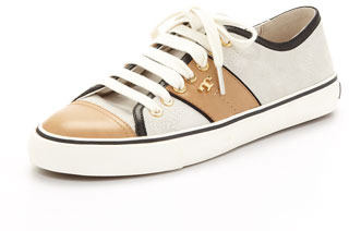 Tory Burch Churchill Striped Suede Sneaker, Ivory/Honey/Black