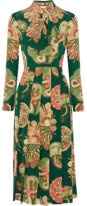 Gucci - Pleated Printed Silk Crepe De Chine Midi Dress - Green $3,200 thestylecure.com