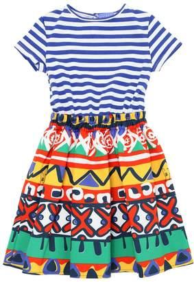 Stella Jean Waxed Cotton & Striped Jersey Dress
