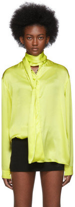 Balenciaga Yellow Silk Satin Scarf Blouse