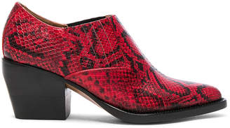 Chloé Rylee Python Print Leather Ankle Boots in Gypsy Red | FWRD