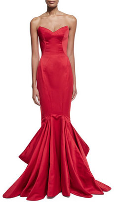 Zac Posen Strapless Pleated Mermaid Gown, Hibiscus $5,990 thestylecure.com