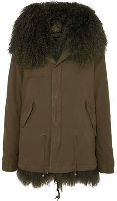 Mr & Mrs Italy Hooded Shearling-lined Cotton-canvas Parka - Dark green