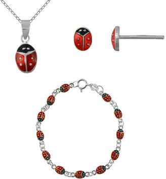 JCPenney FINE JEWELRY Girls Sterling Silver Ladybug 3-pc. Jewelry Set