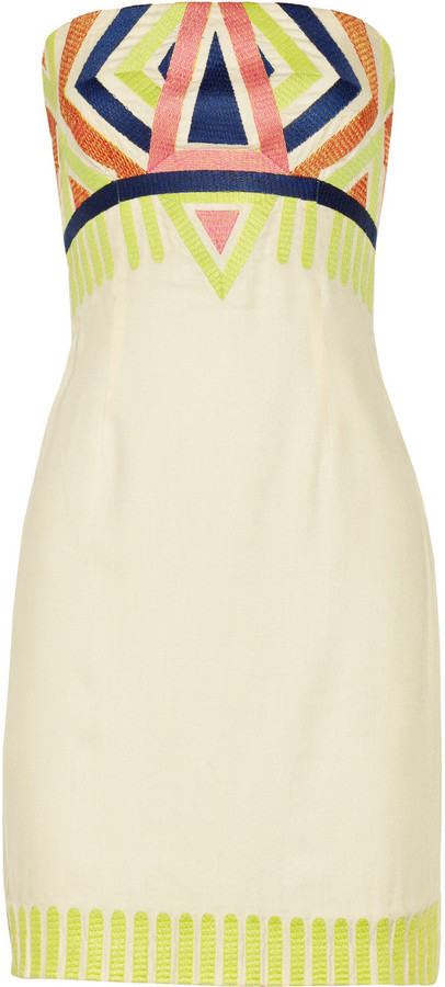 Mara Hoffman Embroidered twill mini dress