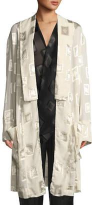Urban Zen Block-Print Devore Belted Coat