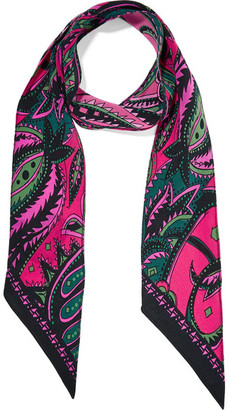Rockins - Prickly Paisley Printed Silk Crepe De Chine Scarf - Pink $145 thestylecure.com