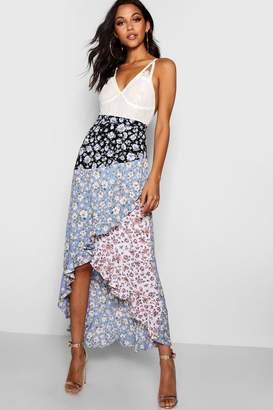 boohoo Orla Woven Spliced Floral Maxi Skirt