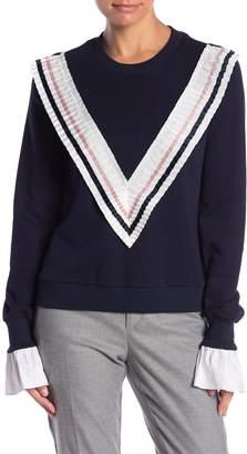 ENGLISH FACTORY Ruffle Trim Sweatshirt