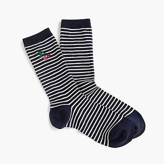 J.Crew Striped trouser socks with embroidered cherries