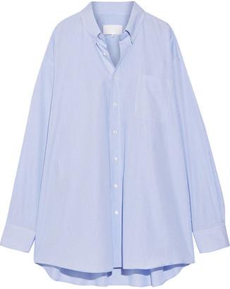 Maison Margiela - Oversized Striped Cotton-poplin Shirt - Blue $765 thestylecure.com
