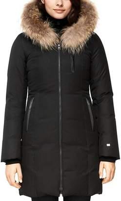 Soia & Kyo Fur-Trim Brushed Down Coat