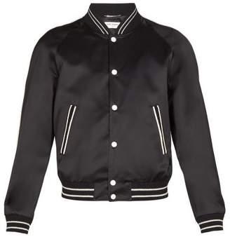 Saint Laurent Satin Bomber Jacket - Mens - Black