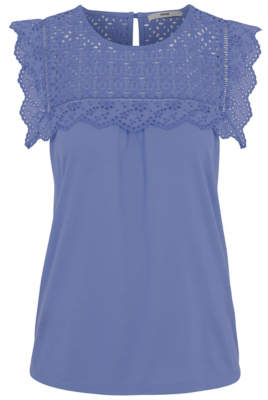 George Blue Broderie Anglaise Bib Top