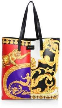 Versace North/South Print Leather Tote Duo