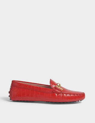 Tod's Double T Gommino Printed Moccasins in Red Croc Print Calfskin