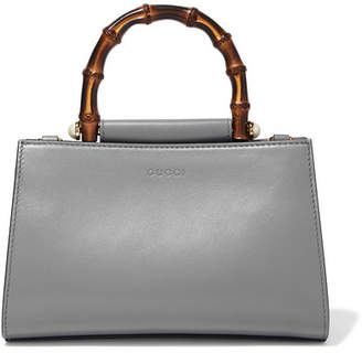 Gucci Nymphaea Bamboo Mini Two-tone Leather Tote - Gray