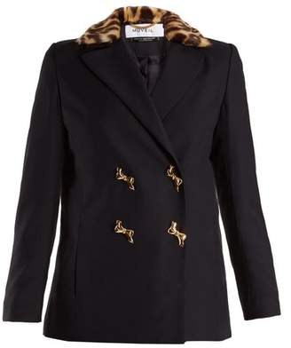 Muveil - Double Breasted Leopard Print Collar Woven Jacket - Womens - Navy