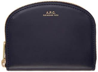 A.P.C. Navy Half Moon Compact Wallet
