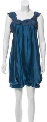 BCBGMAXAZRIA Embellished Silk Dress