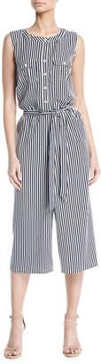 Neiman Marcus Sleeveless Striped Wide-Leg Jumpsuit