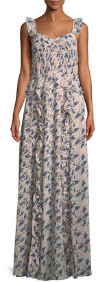 Nell Trendsetting Designer Flutter-Shoulder Maxi Dress