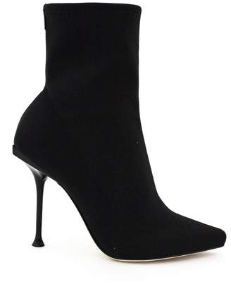 Sergio Rossi Pointed Ankle Boot In Black Stretch Fabric.