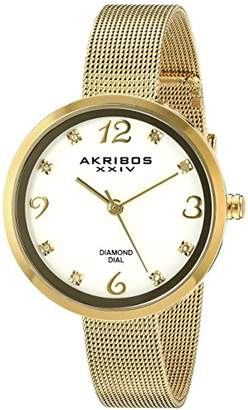 Akribos XXIV Women's AK875YG Yellow Gold-Tone Diamond-Accented Watch