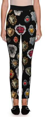 Dolce & Gabbana Heart-Print High-Waist Stirrup Leggings