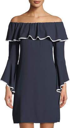 Taylor Off-The-Shoulder Bell-Sleeve Mini Dress