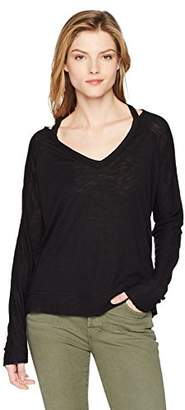 Splendid Women's Heavy Slub Jersey Vneck Cold Shoulder Top