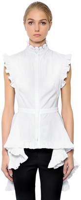 Alexander McQueen Ruffled Sleeveless Poplin Shirt