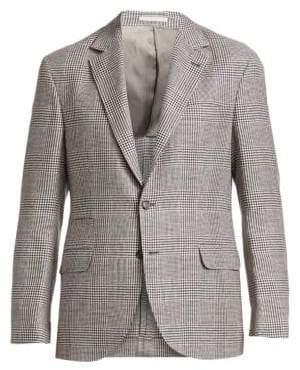 Brunello Cucinelli Glen Plaid Linen, Wool & Silk Jacket