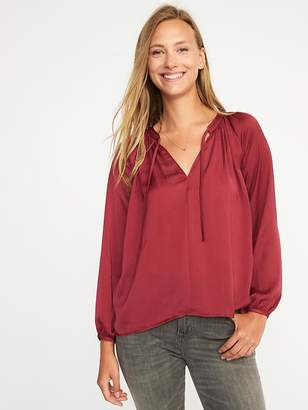 Old Navy Relaxed Tie-Neck Satin Top for Women