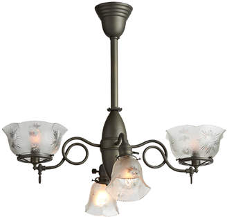 Rejuvenation 4-Light Gas Electric Chandelier w/ Pressed-Glass Shades