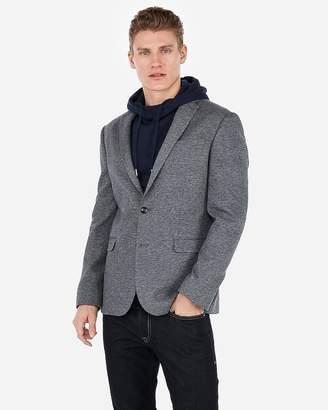 Express Slim Grey Double Knit Micropattern Blazer