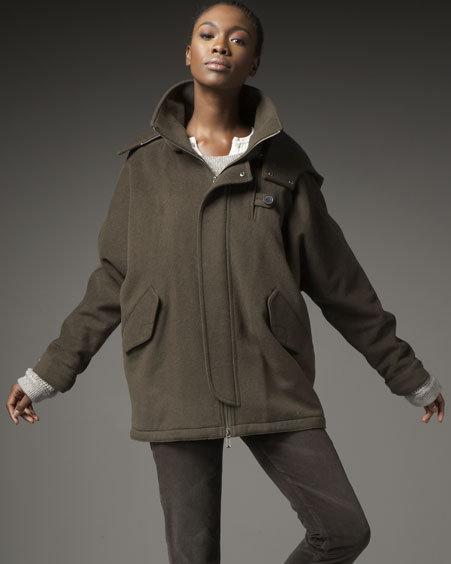 Vince Melton Hooded Anorak Coat