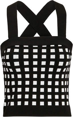 Derek Lam 10 Crosby Mixed Check Knit Crop Top