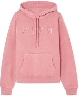 Kith Serena Embroidered Cotton-jersey Hooded Top
