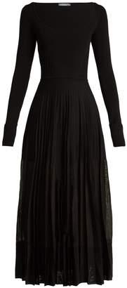 Alexander McQueen Stretch-knit pleated midi dress
