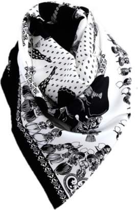 Belle Epoque L'illustration Black & White Elephant Silk Scarf